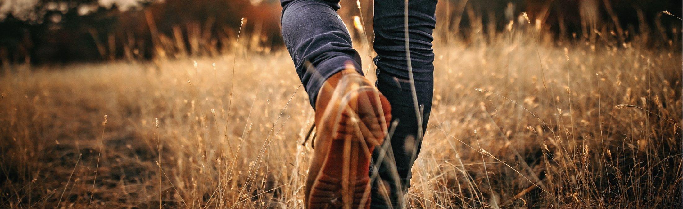 person walking in field